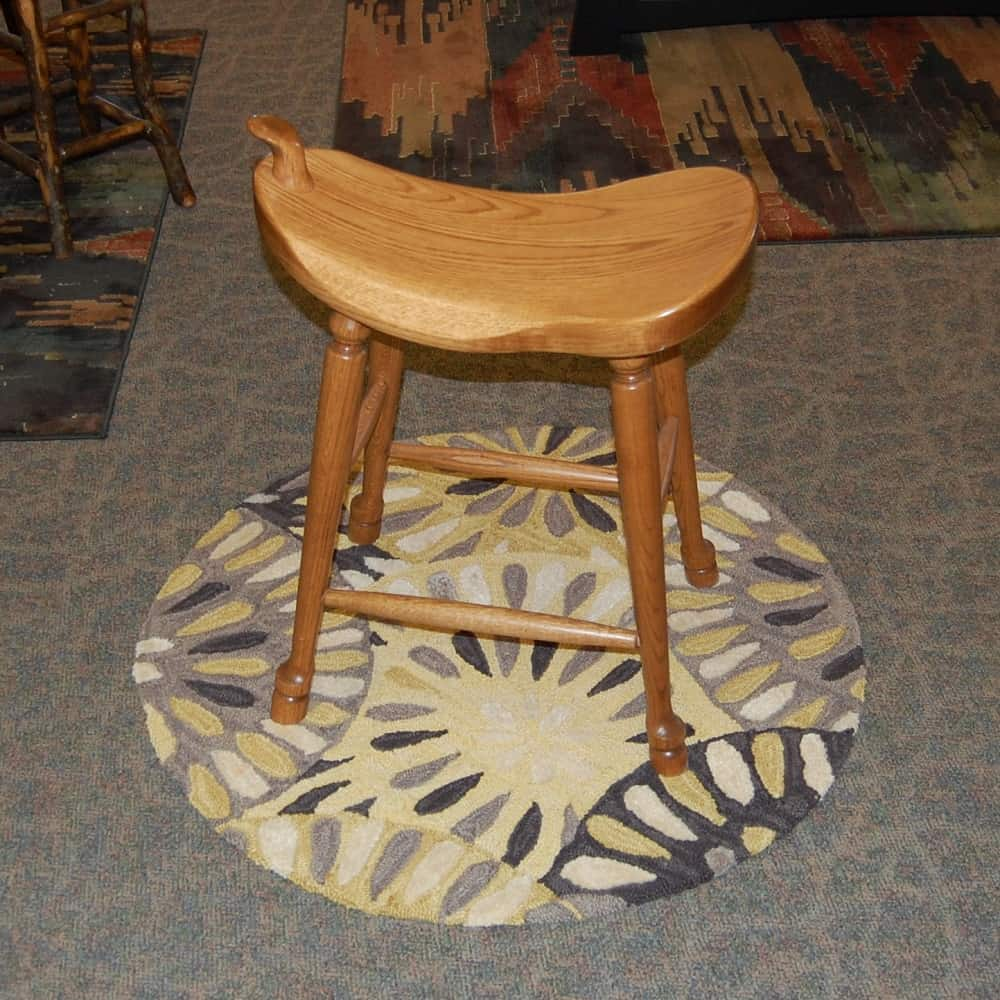 "24"" Western Saddle Bar Stool Oak Seely Amish Oak"