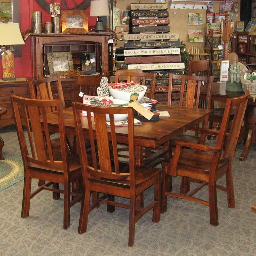 "48 Square Dining Room Table: 48"" Square Artesa Brown Maple Dining Table With 2-12 Inch Leaves, 4 Side Chairs And 2 Arm Chairs"