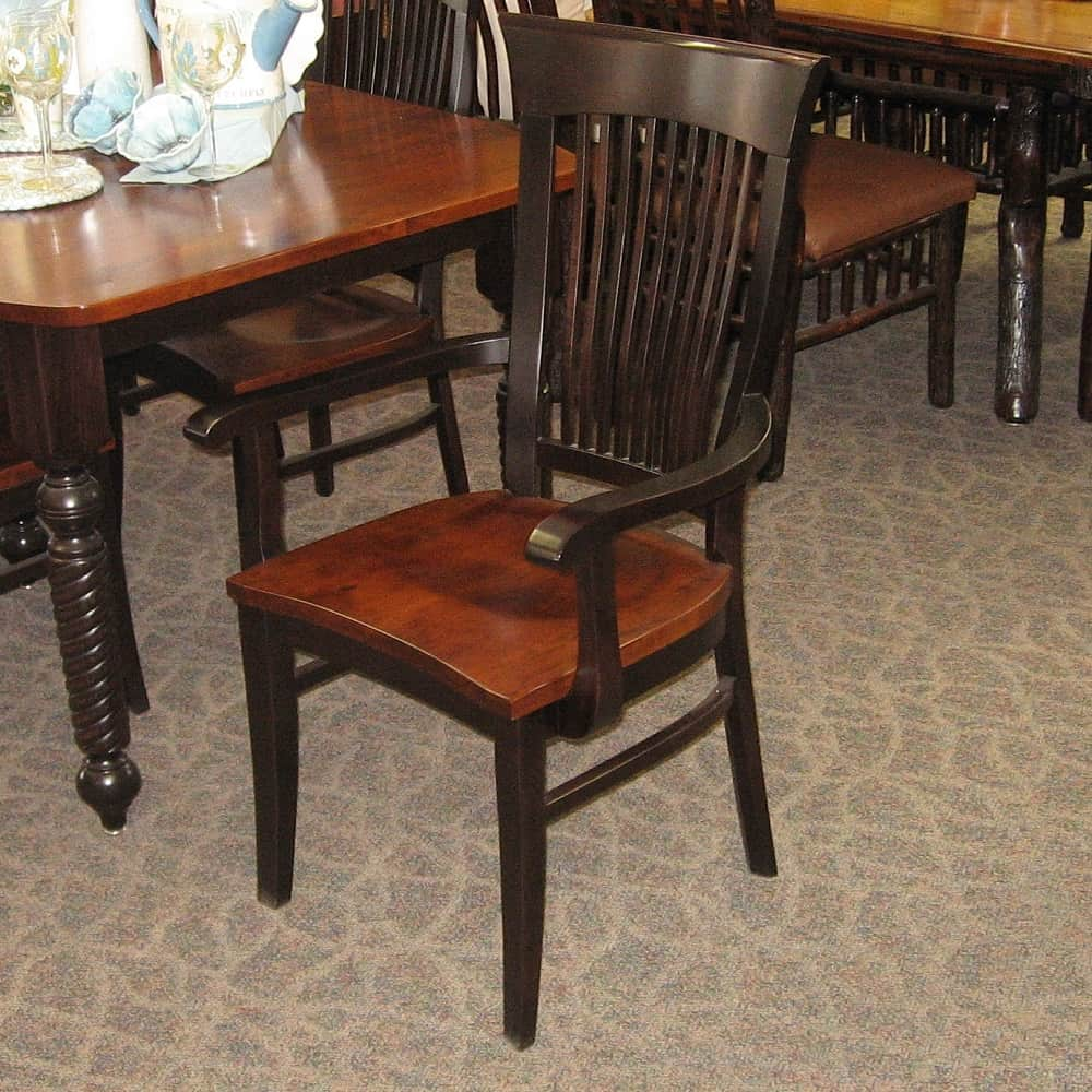 Sophia Arm Chair Shown In Rustic Cherry Brown Maple With A Two Tone MC Onyx Finish
