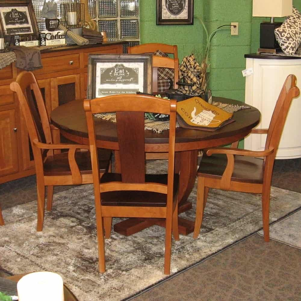 Brilliant Round Hamilton Dining Table 1 25 Settlers Top With 2 12 Leaves Shown In Rustic Walnut And Cherry With A Honey And Boston Finish Home Interior And Landscaping Ologienasavecom