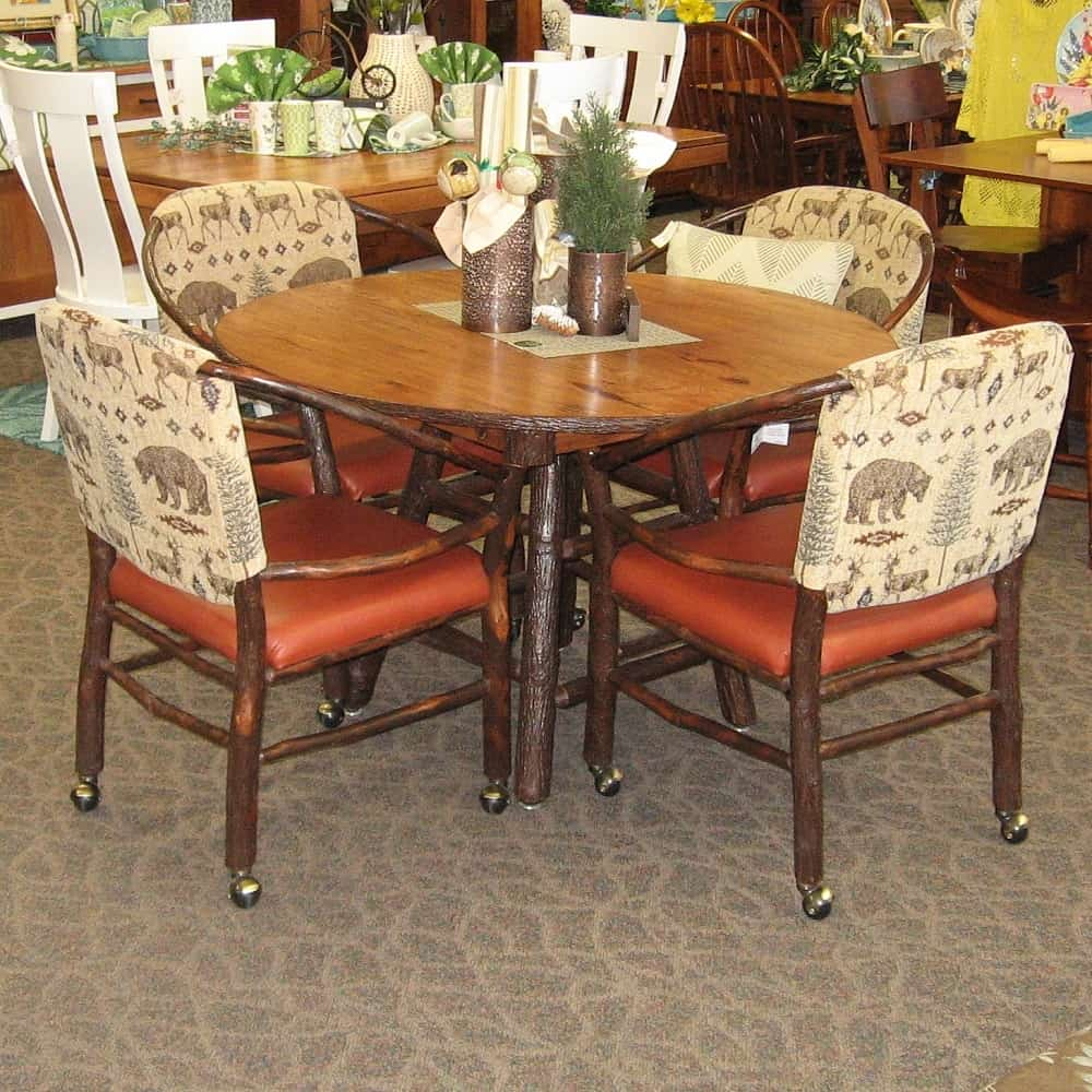 "48"" round rustic hickory dining table, shown in rustic hickory"