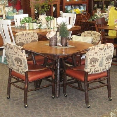 "48"" Round Rustic Hickory Dining Table with 4 Hoop Chairs"