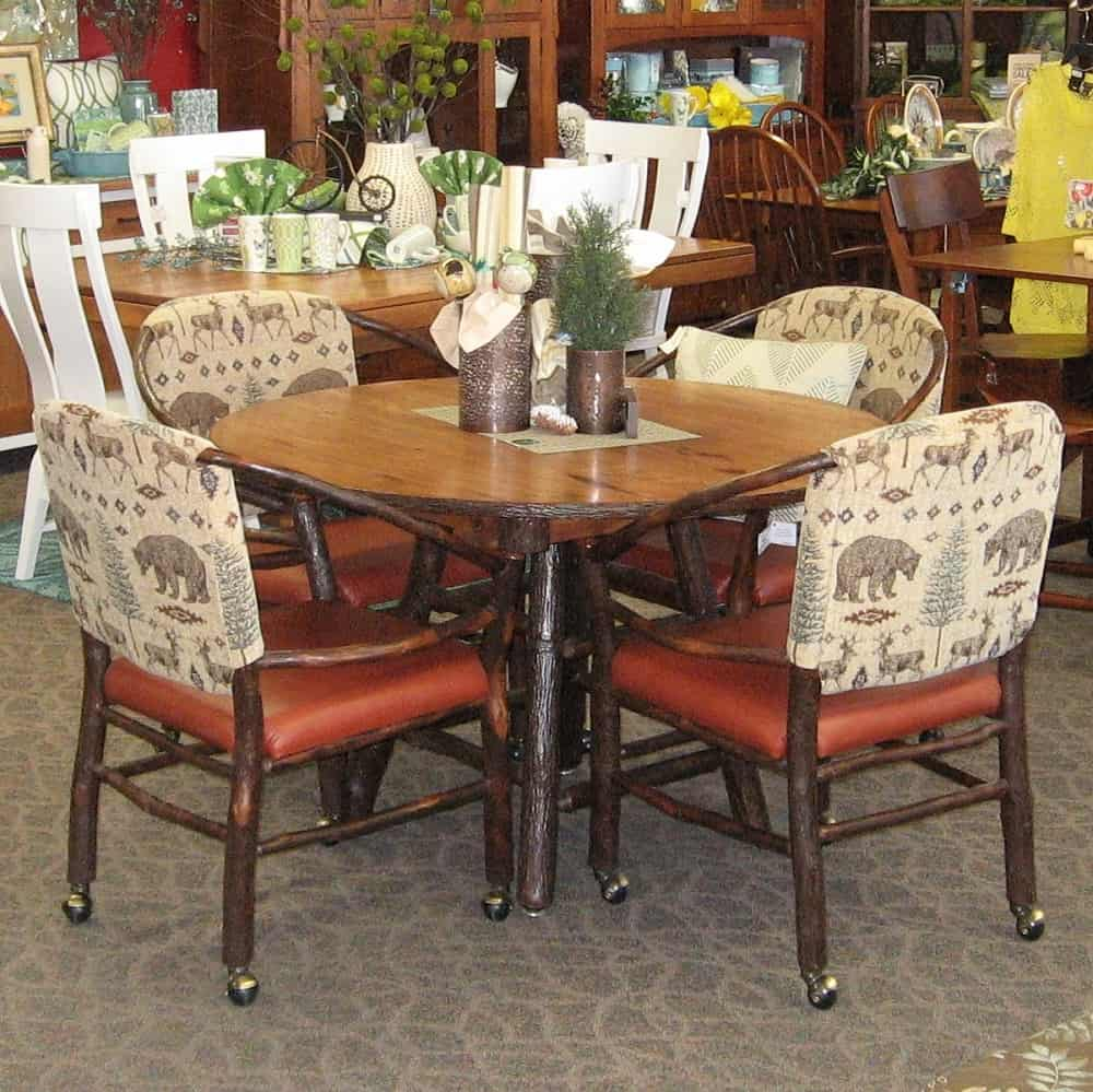 48 Quot Round Rustic Hickory Dining Table Shown In Rustic