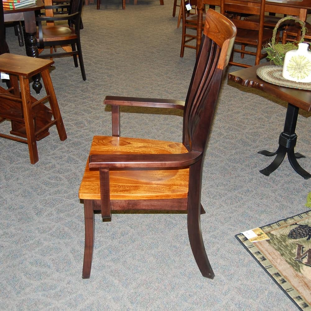 Christy Fan Back Arm Chair Shown In Grey Elm Brown Maple With A Two Tone Michaels Onyx Finish