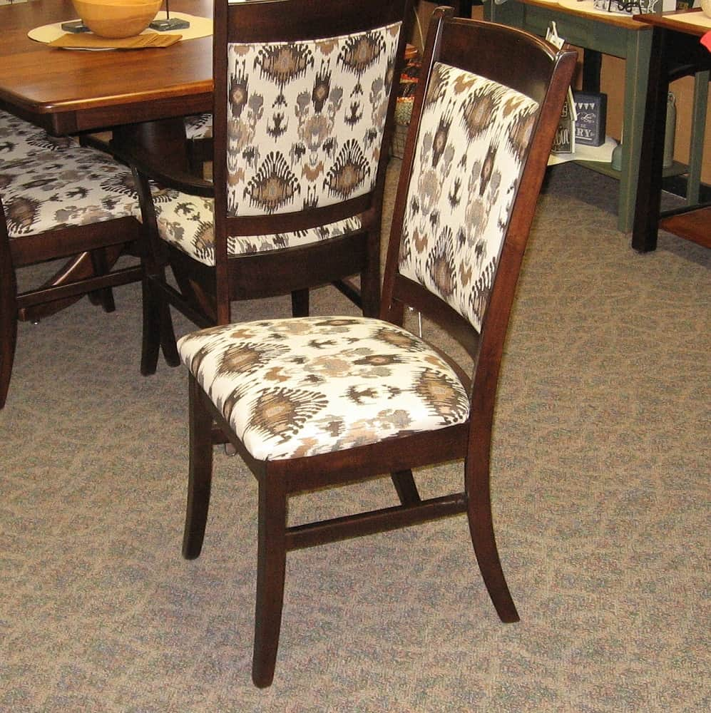 Franklin Side Chair Shown In Brown Maple With A Rich Tobacco Finish And Fabr
