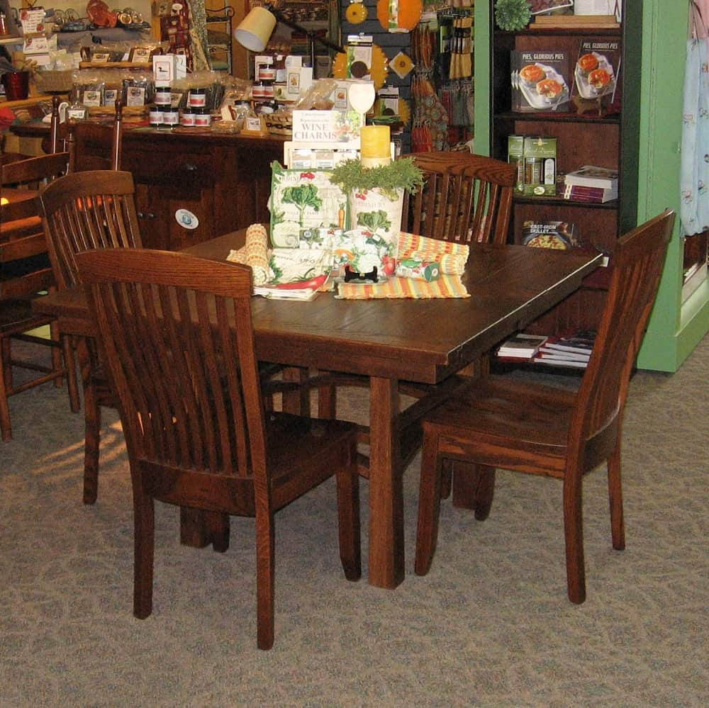 "48 Square Dining Room Table: 48"" Square Artesa Oak Dining Table With 2-16 Inch Leaves, Shown In Oak With An Asbury Brown"