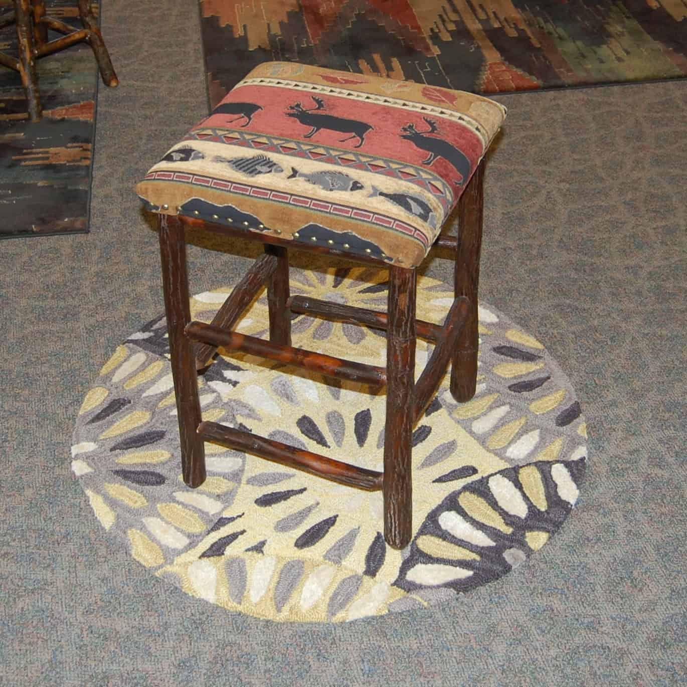 24 Rustic Hickory Bar Stool Michael S With Fabric Seat