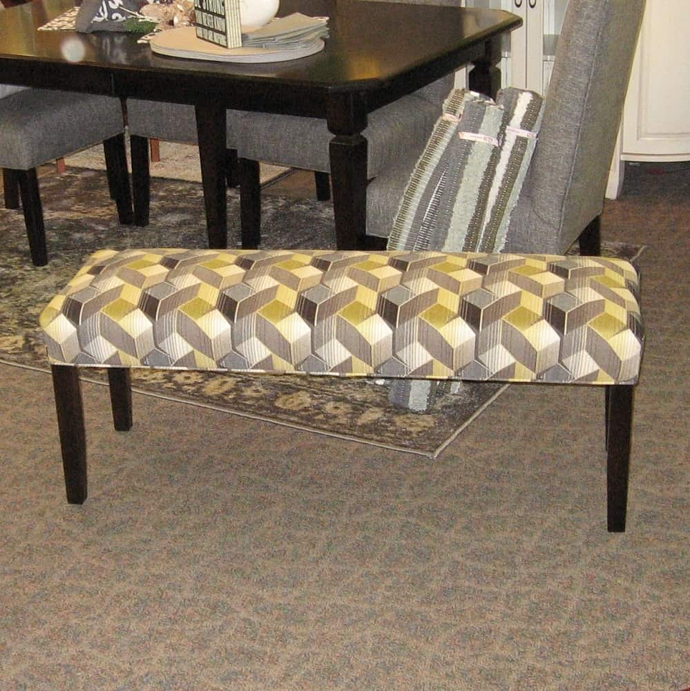 Charmer Fabric Covered Bench Shown In Brown Maple With An