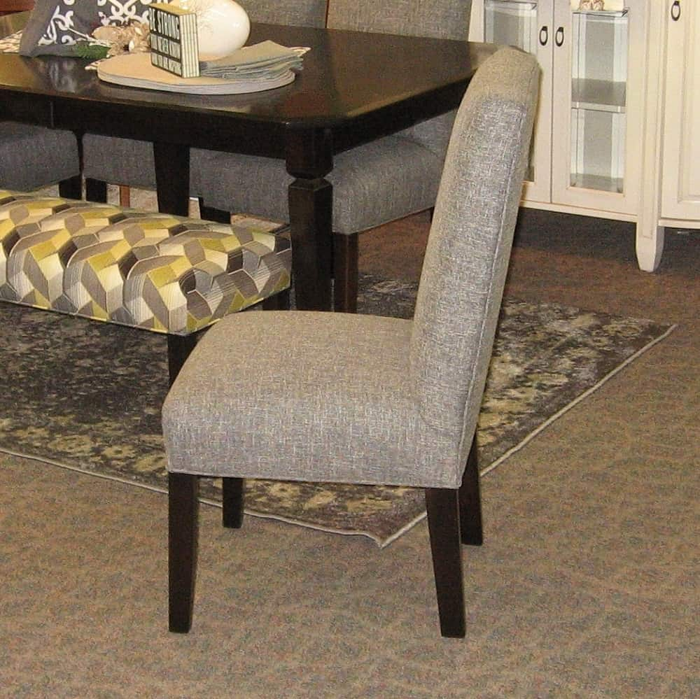 Charmer Fabric Covered Side Chair, Shown In Brown Maple With An Onyx Finish