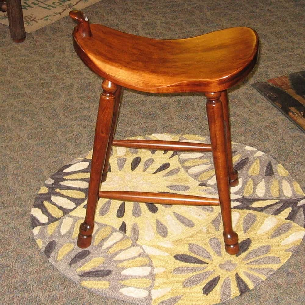 24 Quot Western Saddle Bar Stool Shown In Rustic Cherry With