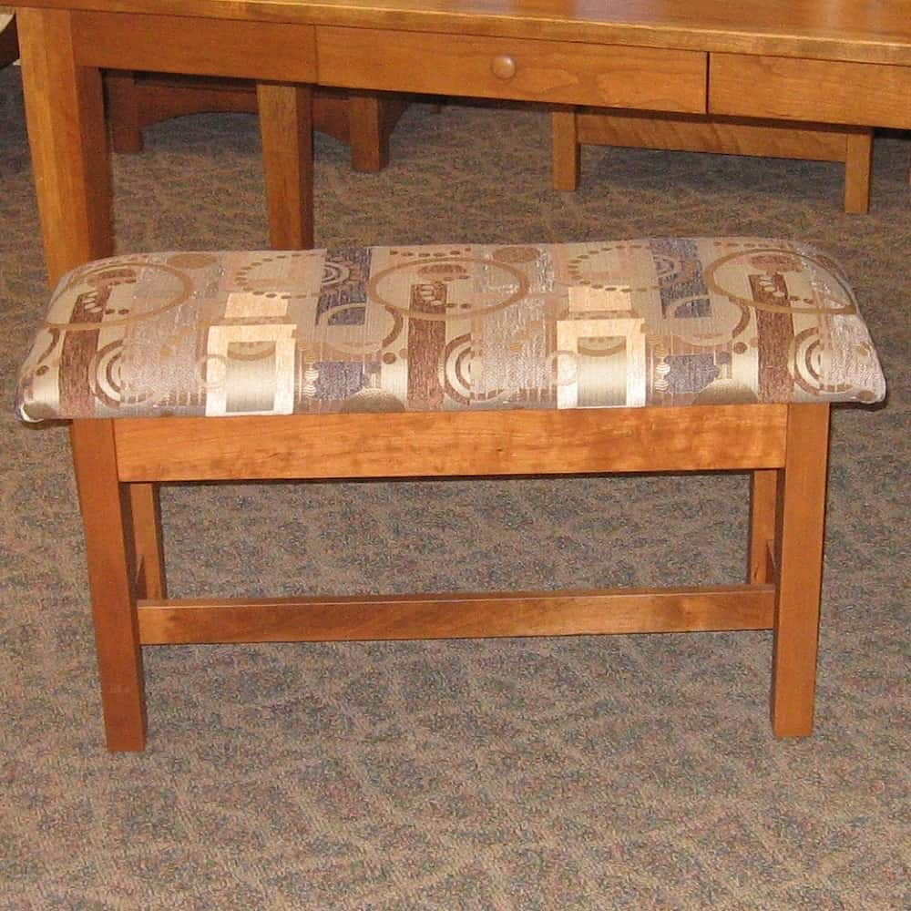 Wide Slat Mission Style Fabric Covered Bench Shown In Rustic Cherry With A Sealy Finish Amish Oak