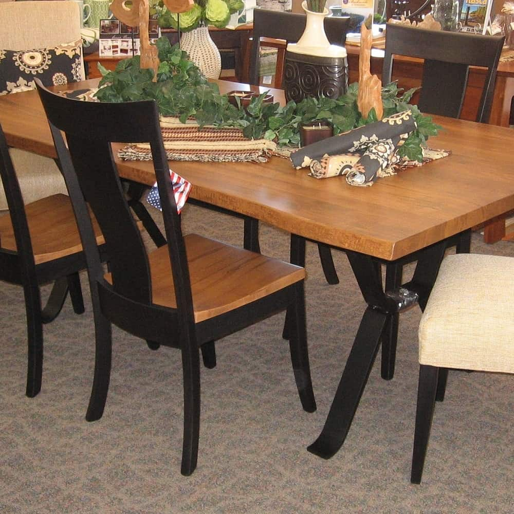 42 x 84 live edge dining table set includes 4 jamestown for Side chairs for dining table