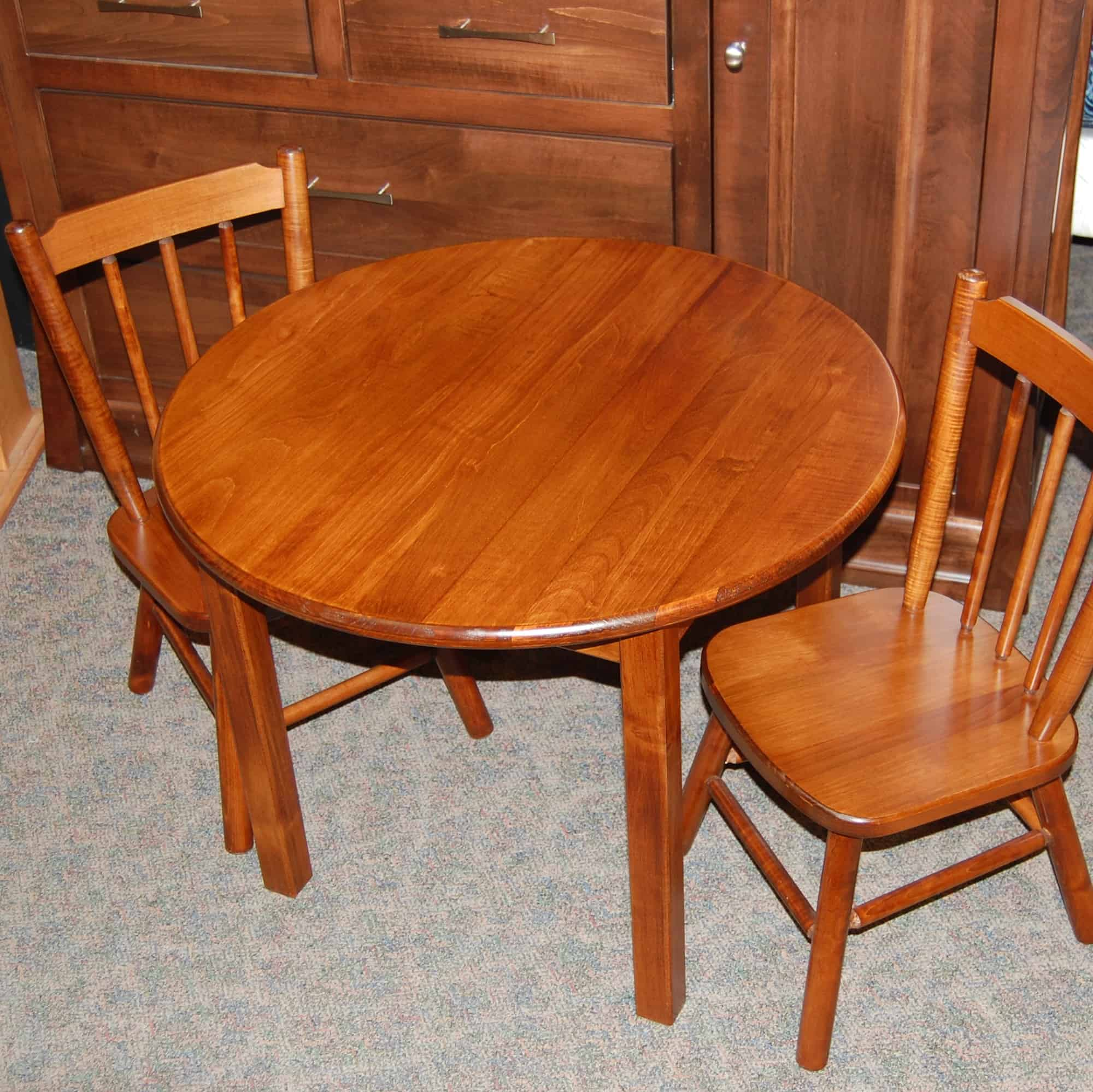 Children's Round Table and Chair set, Shown in Brown Maple ...
