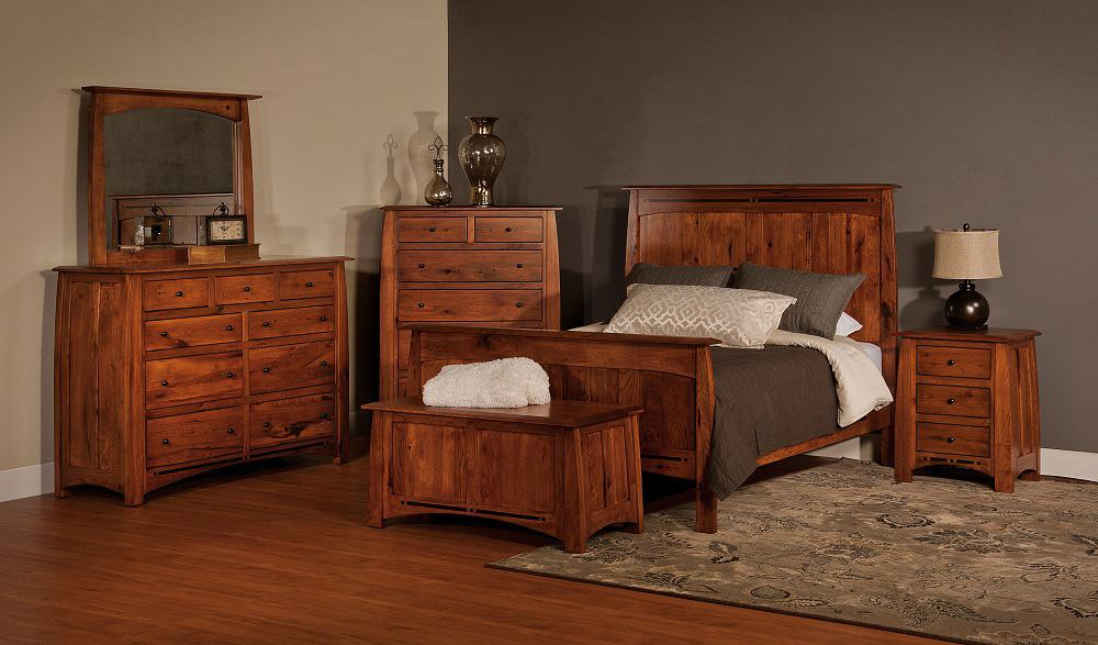 Boulder Creek Queen Bedroom Set, Shown in Rustic Hickory with a ...