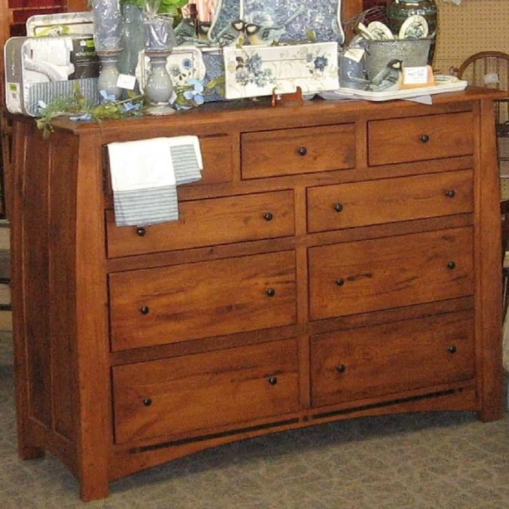 Boulder Creek Queen 6 Piece Bedroom Set Shown In Rustic Hickory With A Harvest Finish Amish Oak