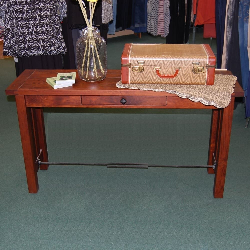 Jordan Plank Top Table Set Shown In Rustic Cherry With A  ~ Sofa Table End Table Set