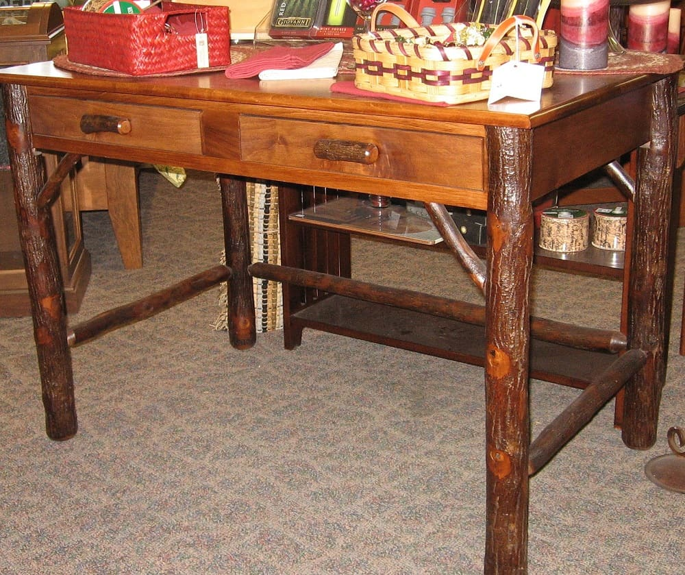 Lincoln Office Desk Shown In Rustic Hickory And Brown