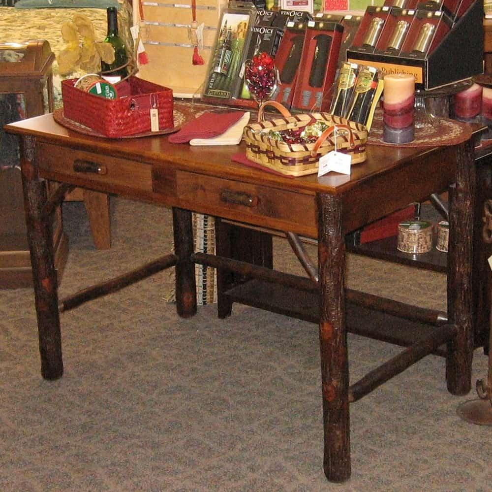 Lincoln Office Desk Shown In Rustic Hickory And Brown Maple With An Asbury Finish