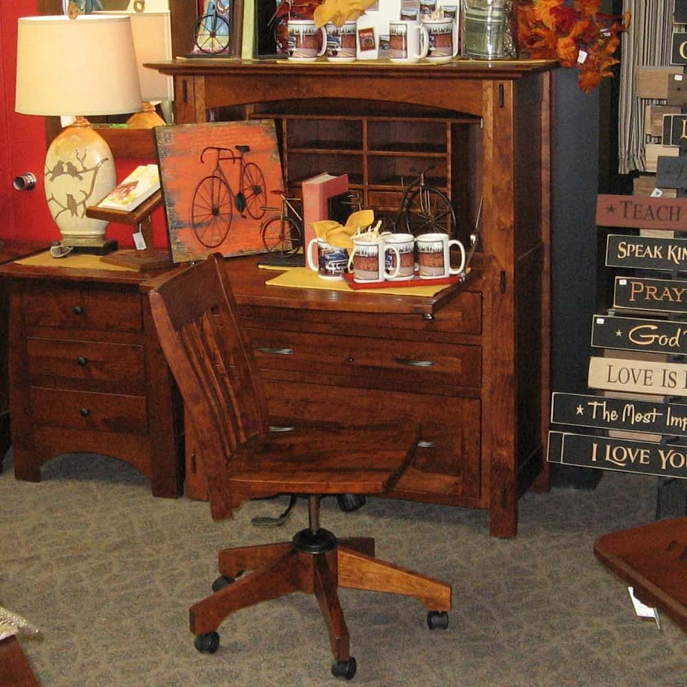 Modesto Secretary Desk And Chair Set Shown In Rustic Cherry With A Michael 39 S Cherry Finish