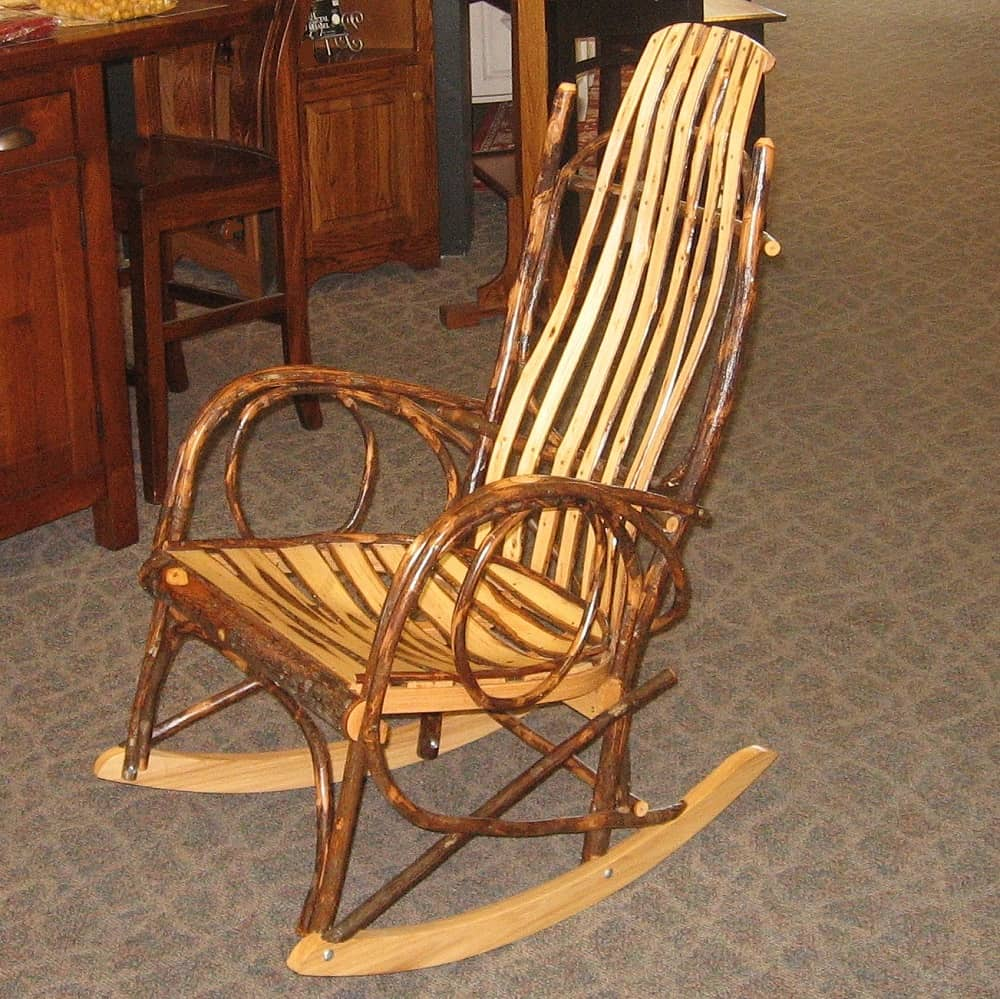 Bent Hickory Rocker With Hickory Slats Amish Oak
