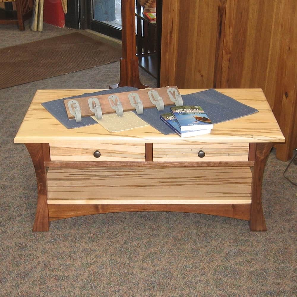 Swell Elmo Style Coffee Table Shown In Wormy Maple With Rustic Walnut Legs And A Natural Finish Evergreenethics Interior Chair Design Evergreenethicsorg