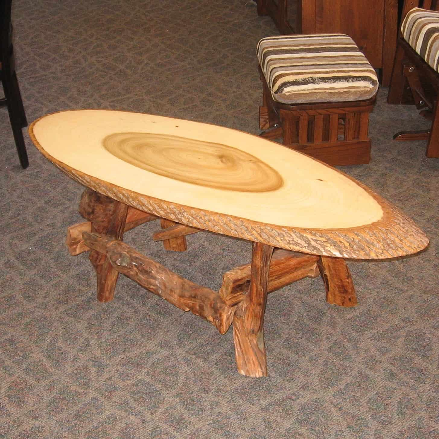 poplar live edge slab coffee table amish oak
