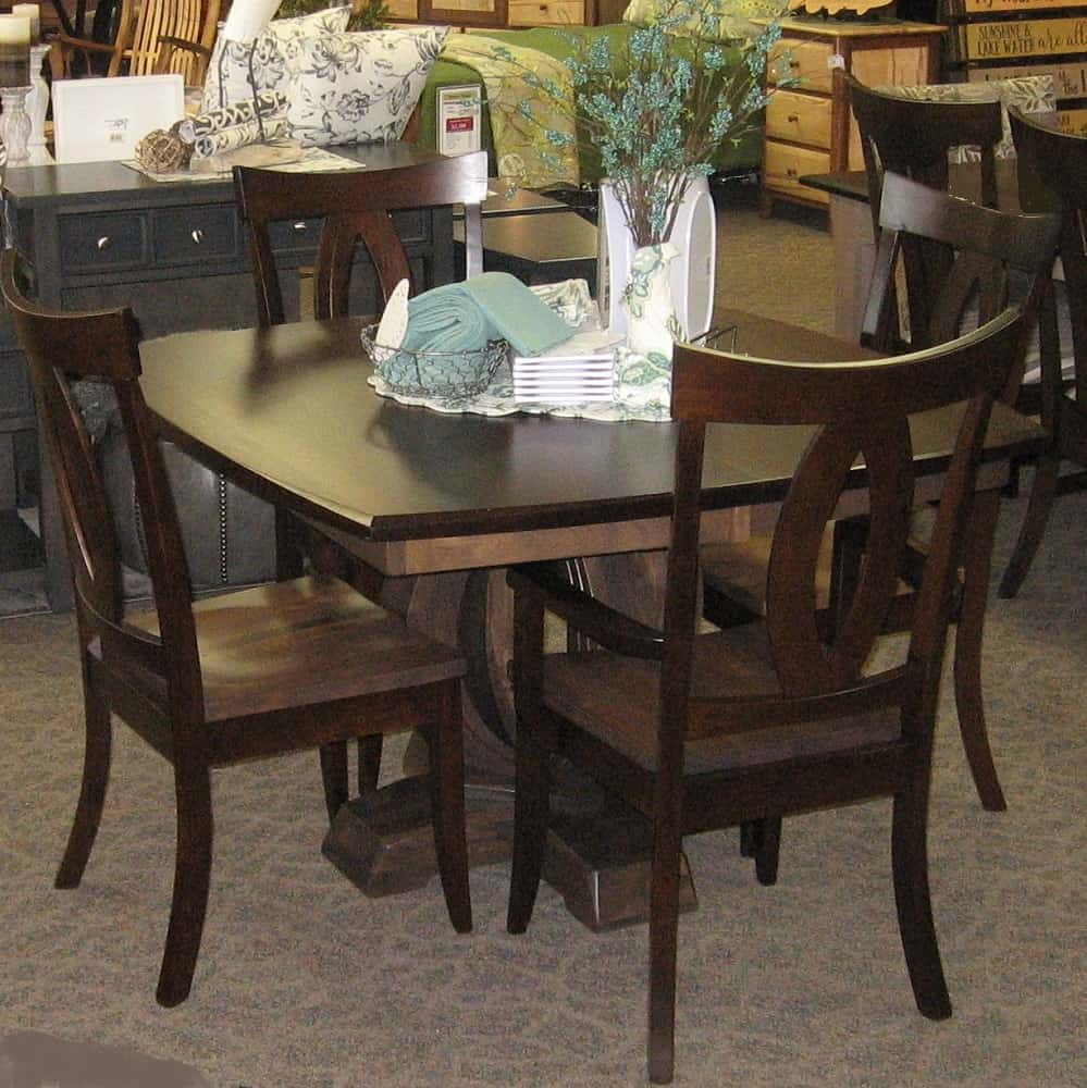 Saratoga dining table table only amish oak for Dining room table only