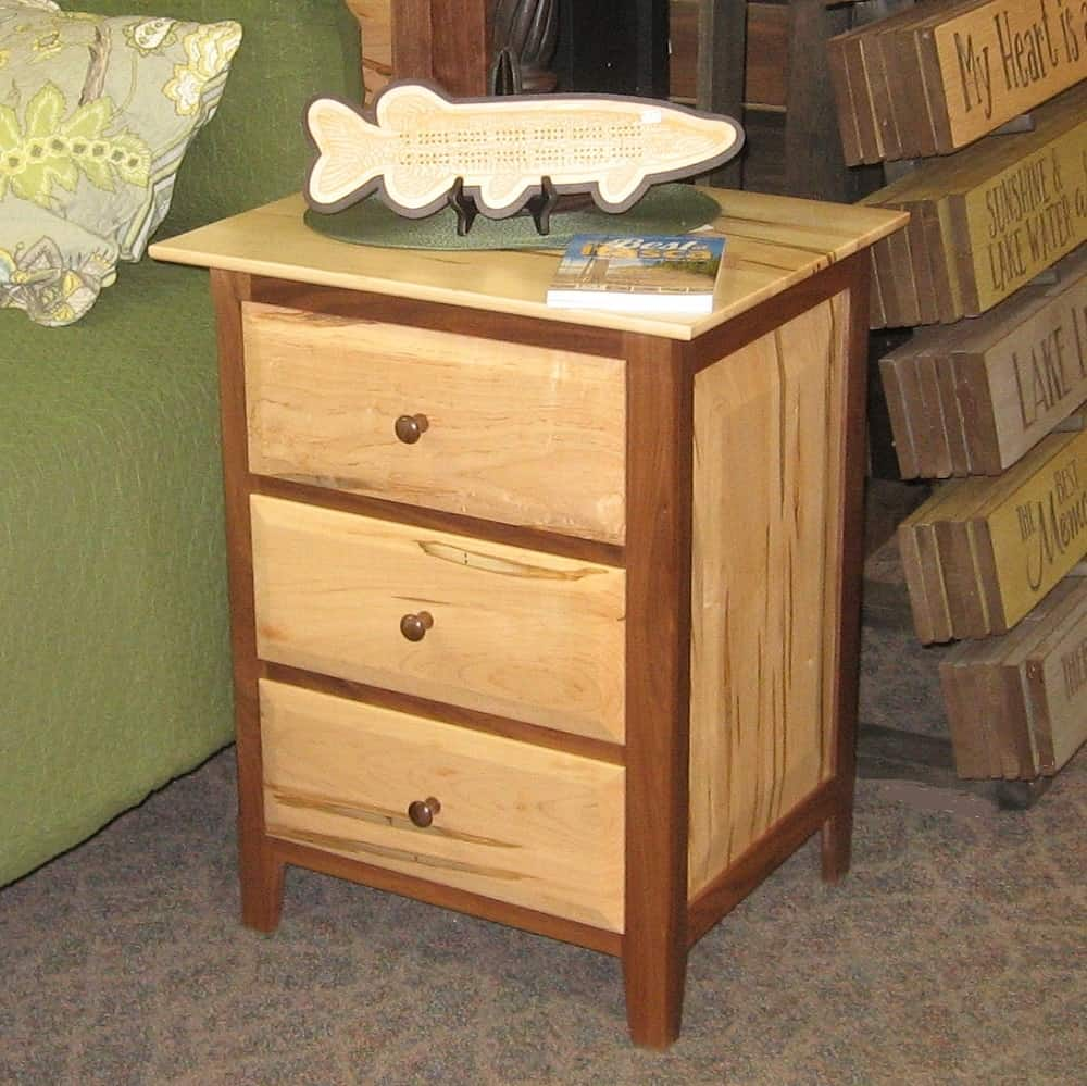 Worthington 3 Drawer Nightstand Shown In Wormy Maple And