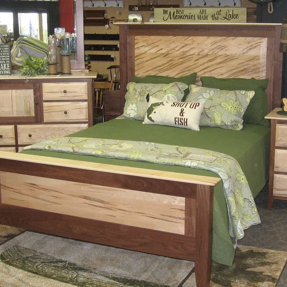 Worthington Queen Bed, Shown in Wormy Maple and Walnut (Headboard ...