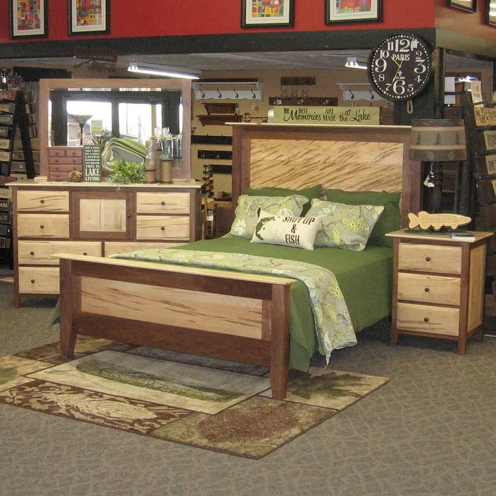 Worthington Queen Bed  Worthington Queen Bed  Shown in Wormy Maple and Walnut  Headboard  . Amish Bedroom Sets. Home Design Ideas