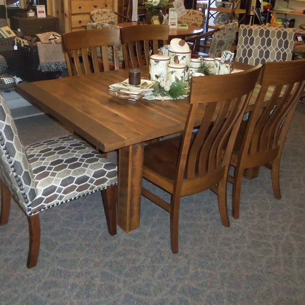 Lynchburg dining table table only amish oak for Dining room table only