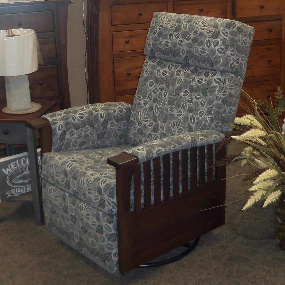 Swivel Glider Recliner W Fabric Covered Arms Amish Oak