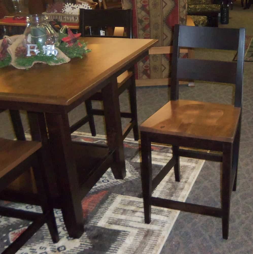 Square London Pub Table Set Shown In Rustic Cherry