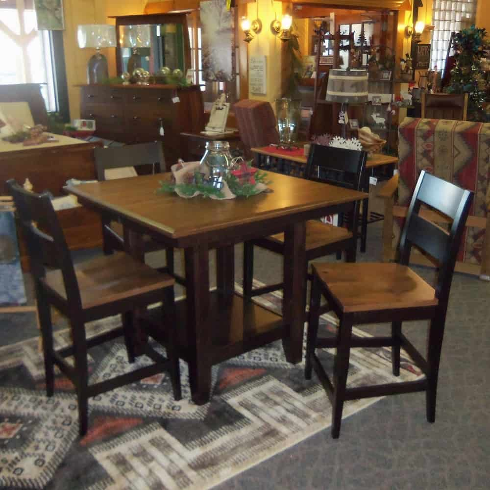 42u2033 Square London Pub Table And 4 Chairs, Shown In Rustic Cherry With A Two  Tone Finish