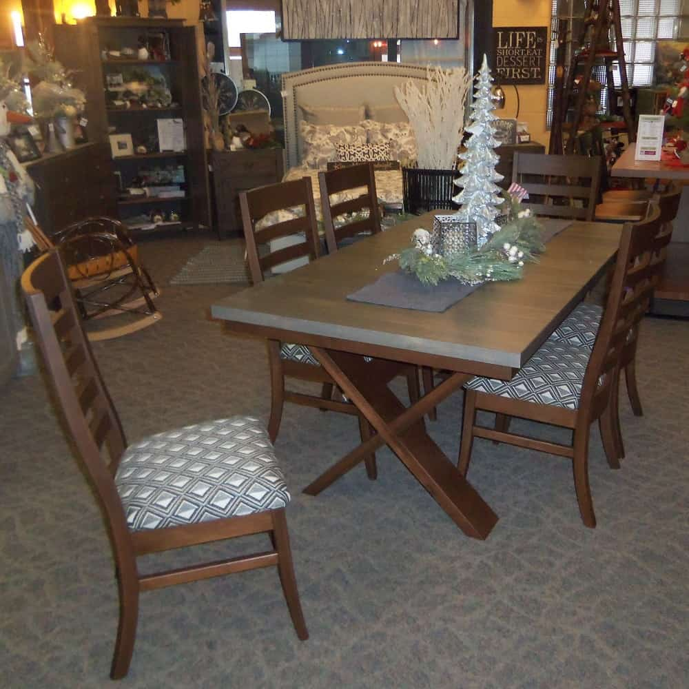 Rough Sawn X Base Dining Table Only Amish Oak