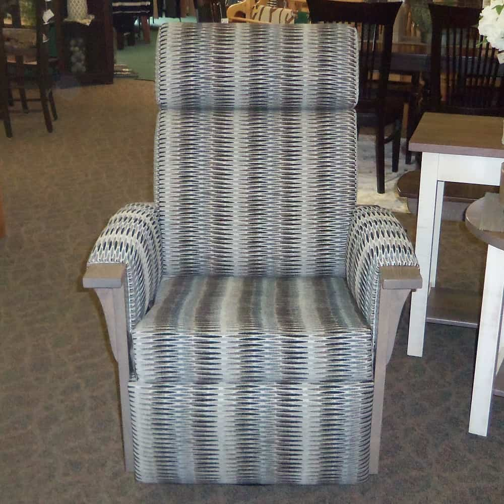 Driftwood Swivel Glider Recliner W Fabric Covered Arms