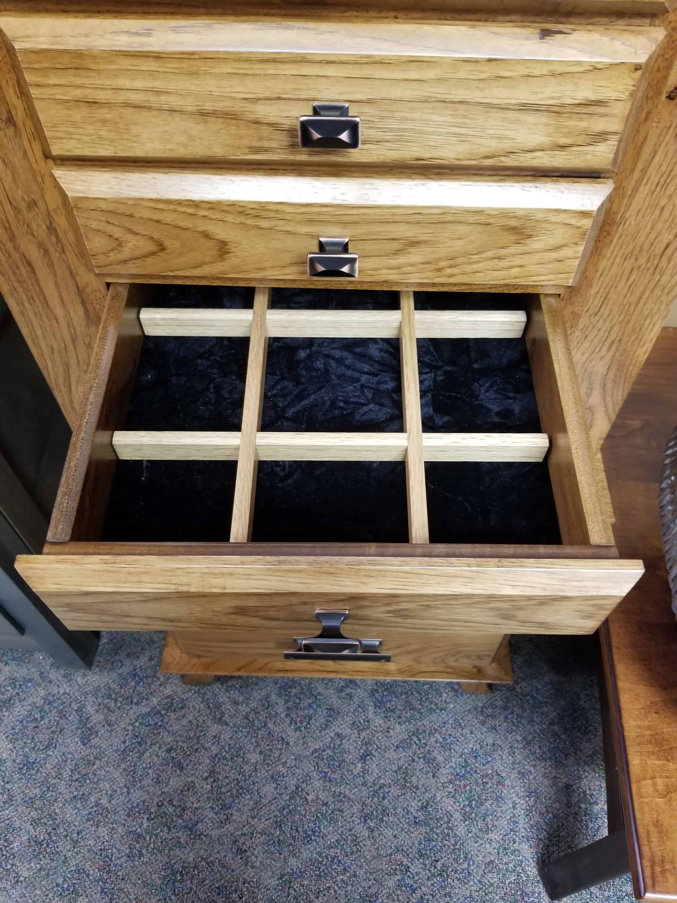 Rustic Hickory Split Shaker Jewelry Armoire Shown In A