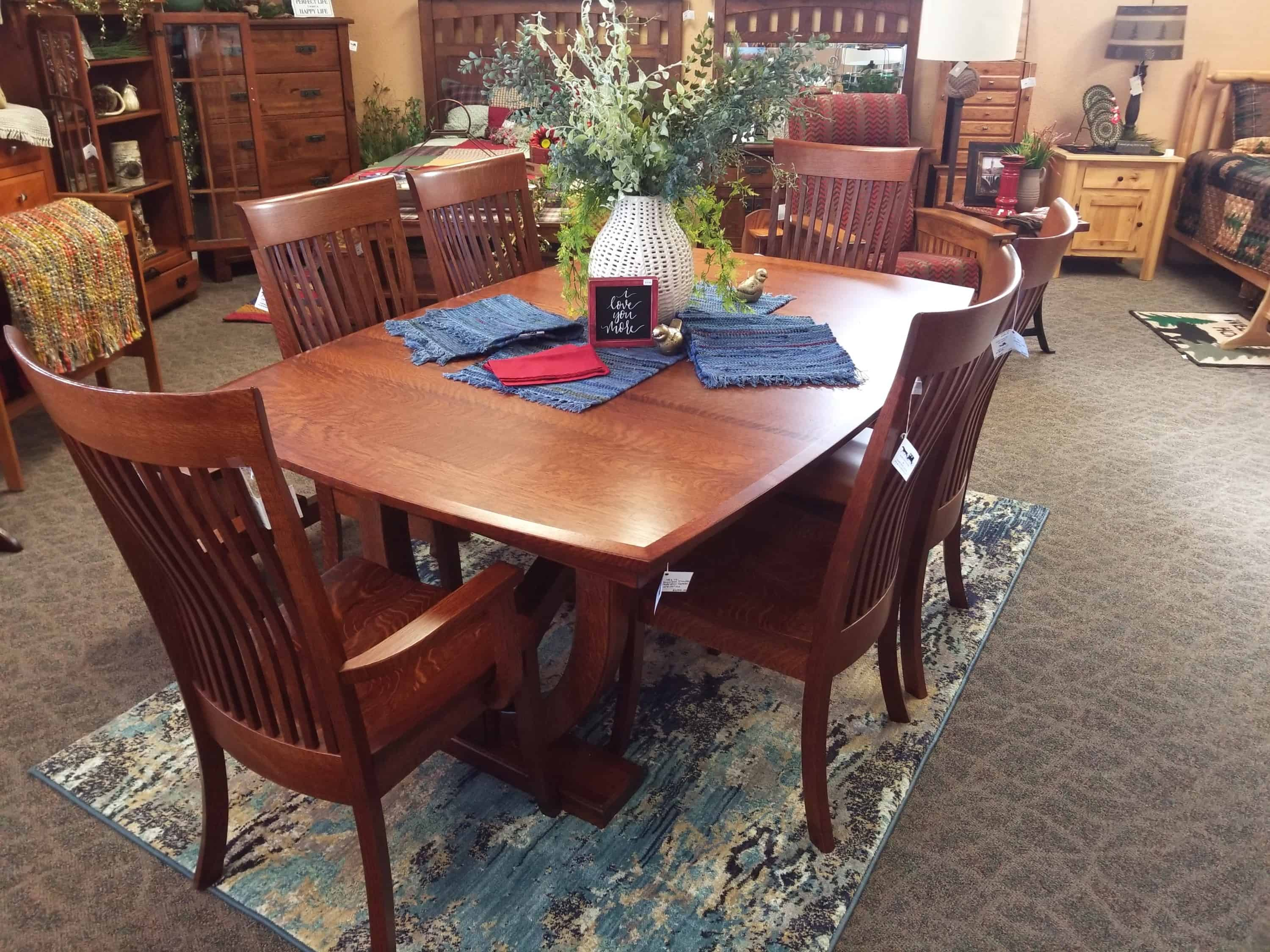 Hamilton Dining Set Shown In Quarter Sawn White Oak With A Michaels Cherry Finish