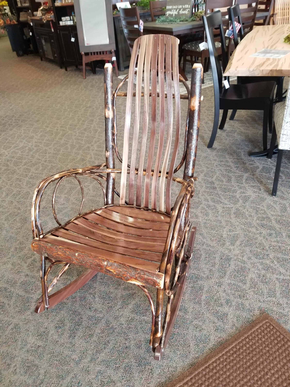 Rustic Walnut Rocking Chair W Hickory Slats Amish Oak