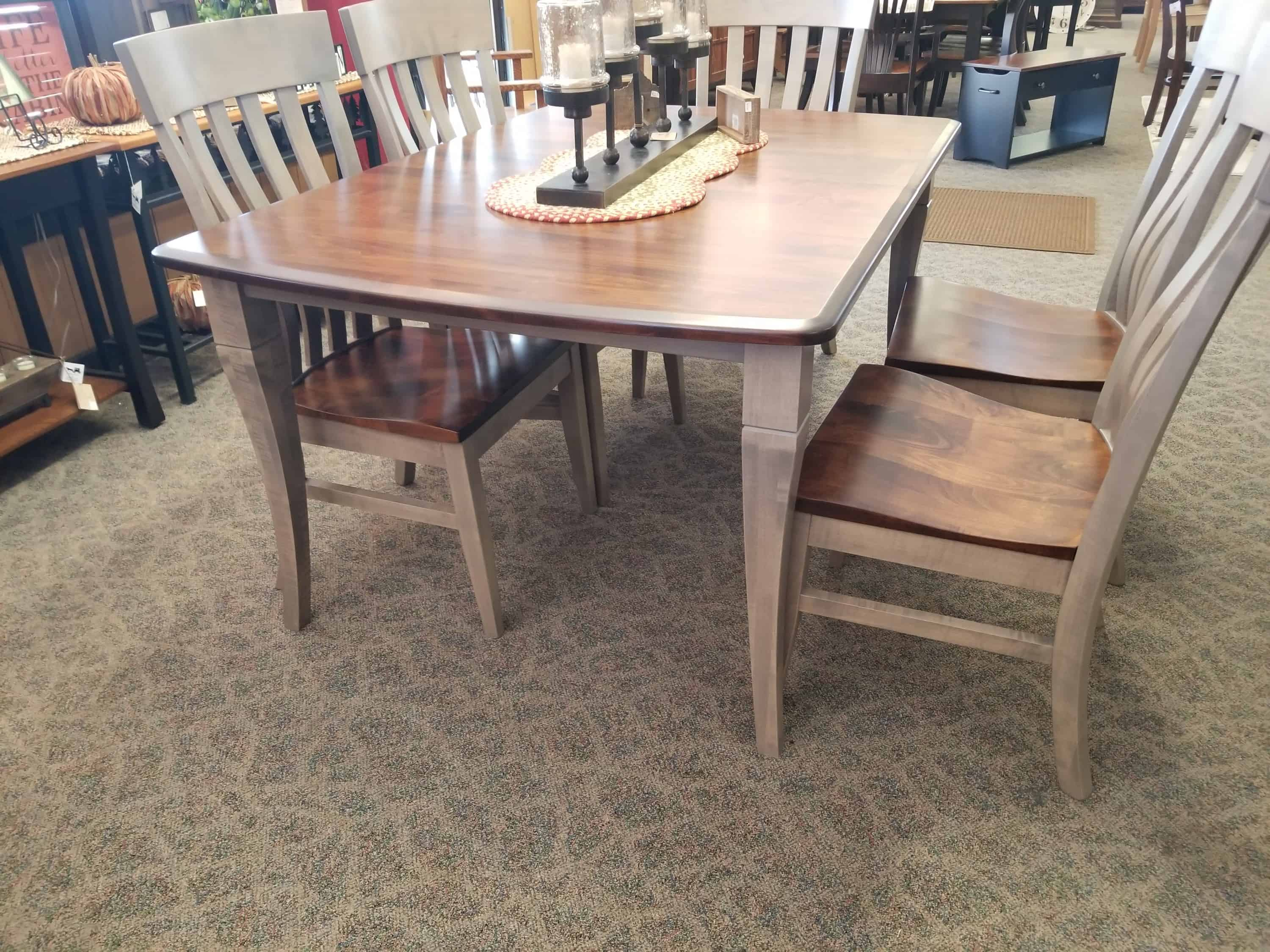 Newbury Dining Table Shown In Brown, Dining Room Set Maple