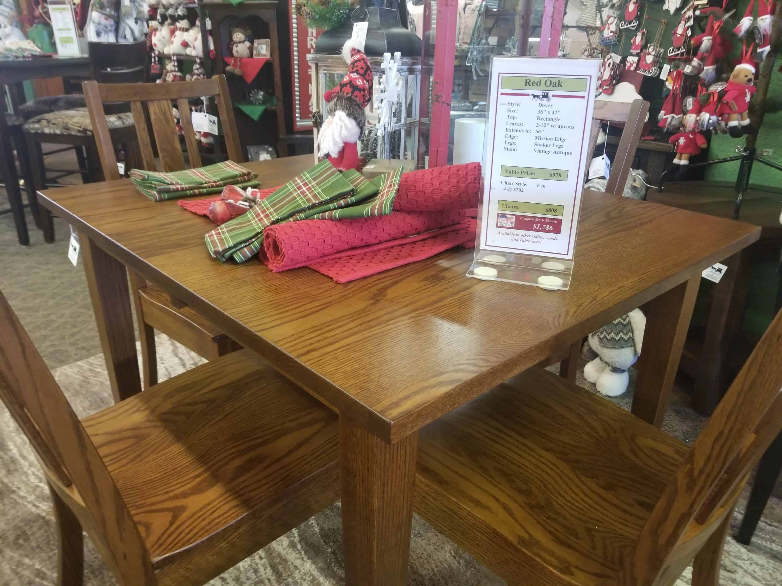 Dover Table Set Shown In Red Oak With An Antique Finish Amish Oak