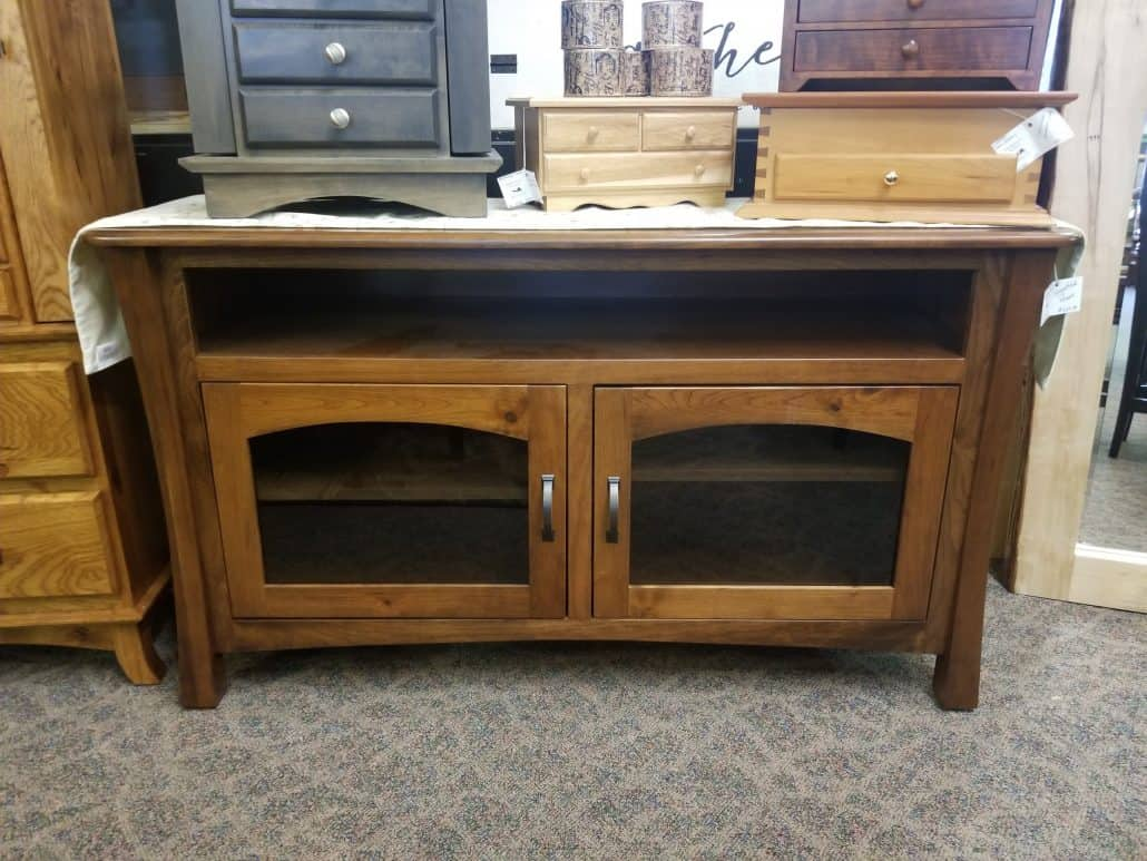 Greenfield Tv Stand Shown In Rustic Cherry Amish Oak