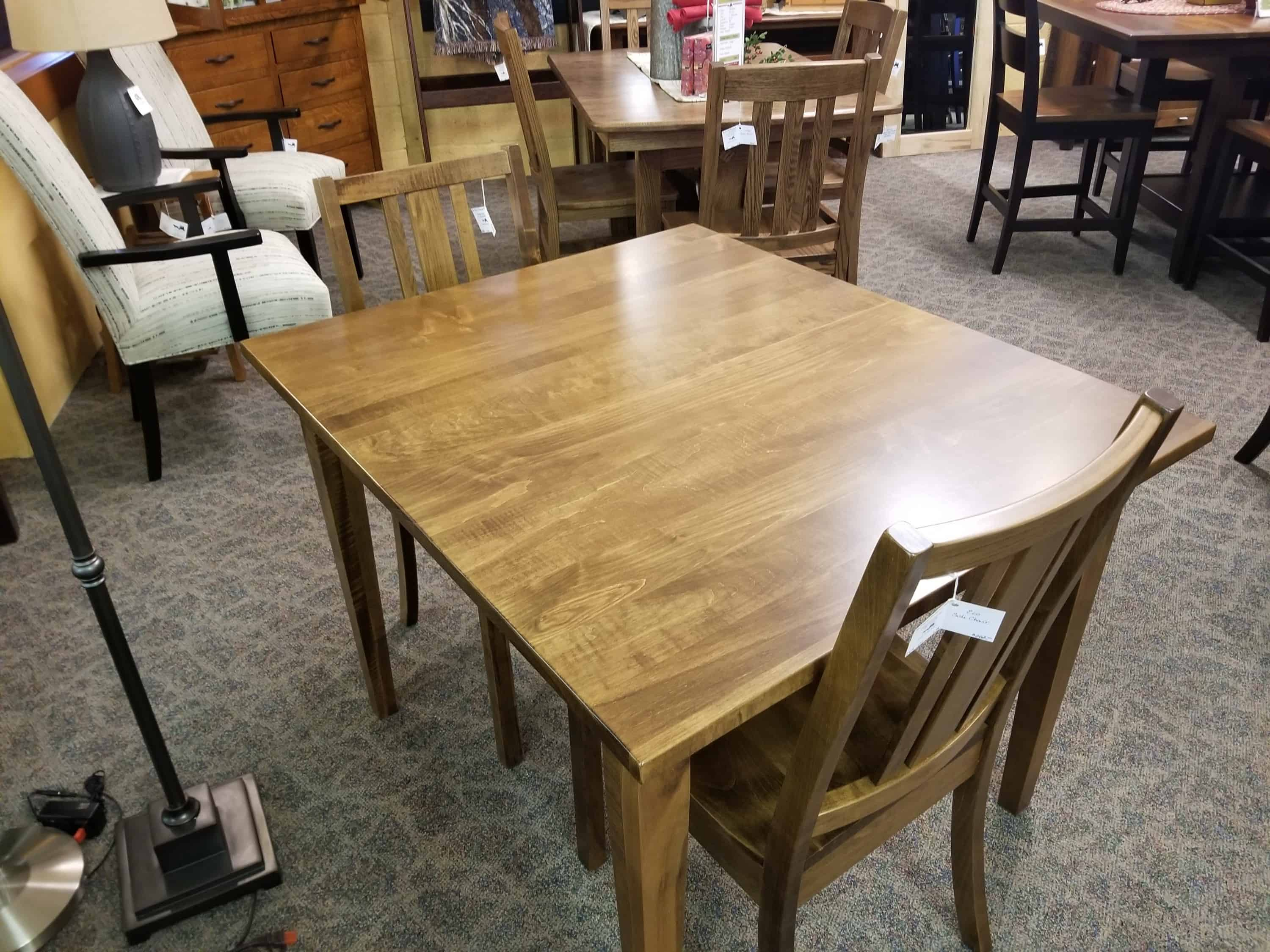 Dover Table Set Shown In Brown Maple Amish Oak