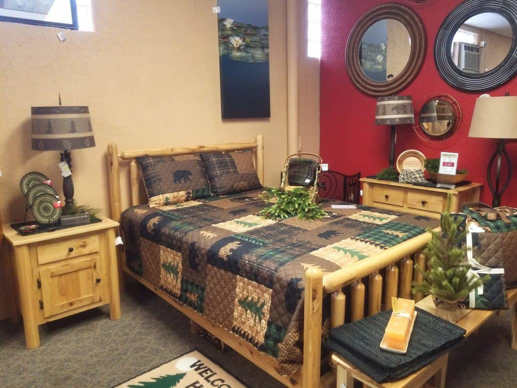 Turned Log Bedroom Set Shown In Rustic Hickory Amish Oak