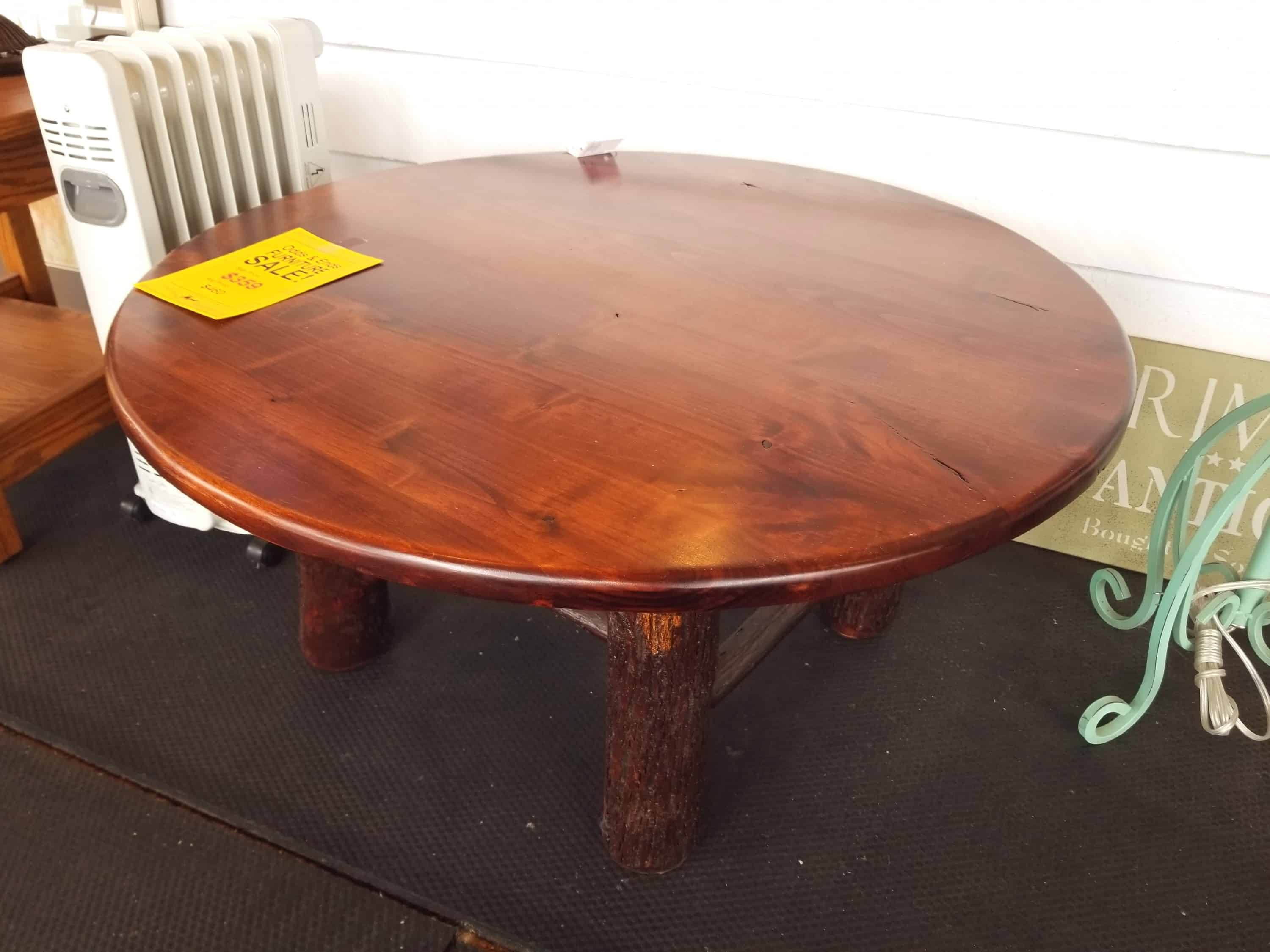 Phenomenal Round Coffee Table Shown In Rustic Alder With A Michaels Cherry Finish Dailytribune Chair Design For Home Dailytribuneorg
