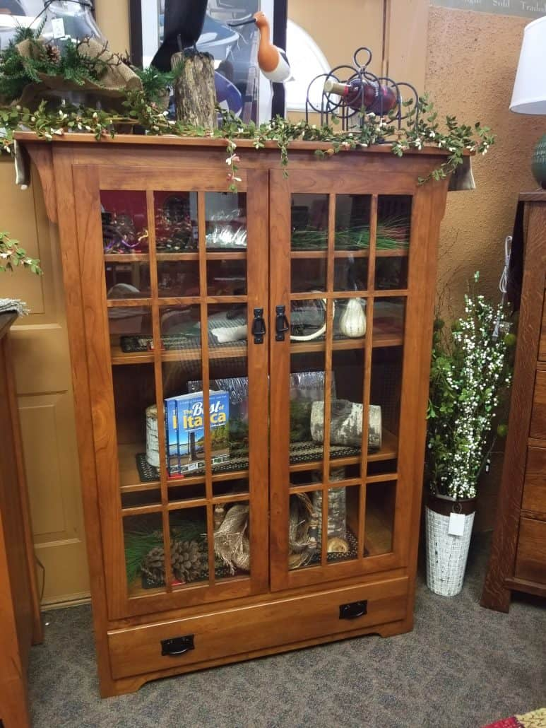 Mission Bookcase W Glass Doors Shown In Rustic Cherry