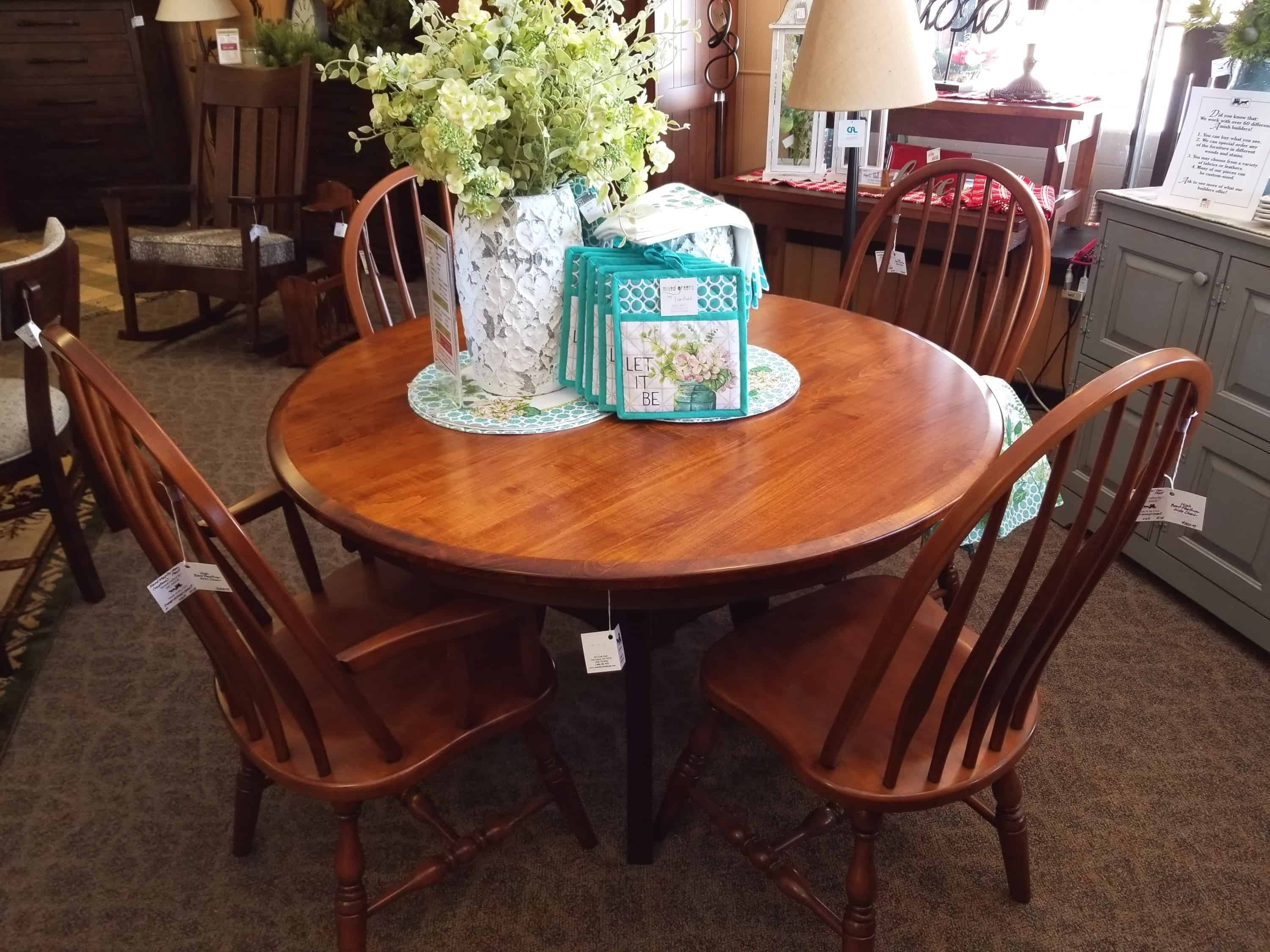 Imperial Dining Set Shown In Brown Maple With A Michaels Cherry Top Includes 4 Side Chairs And 2 Arm