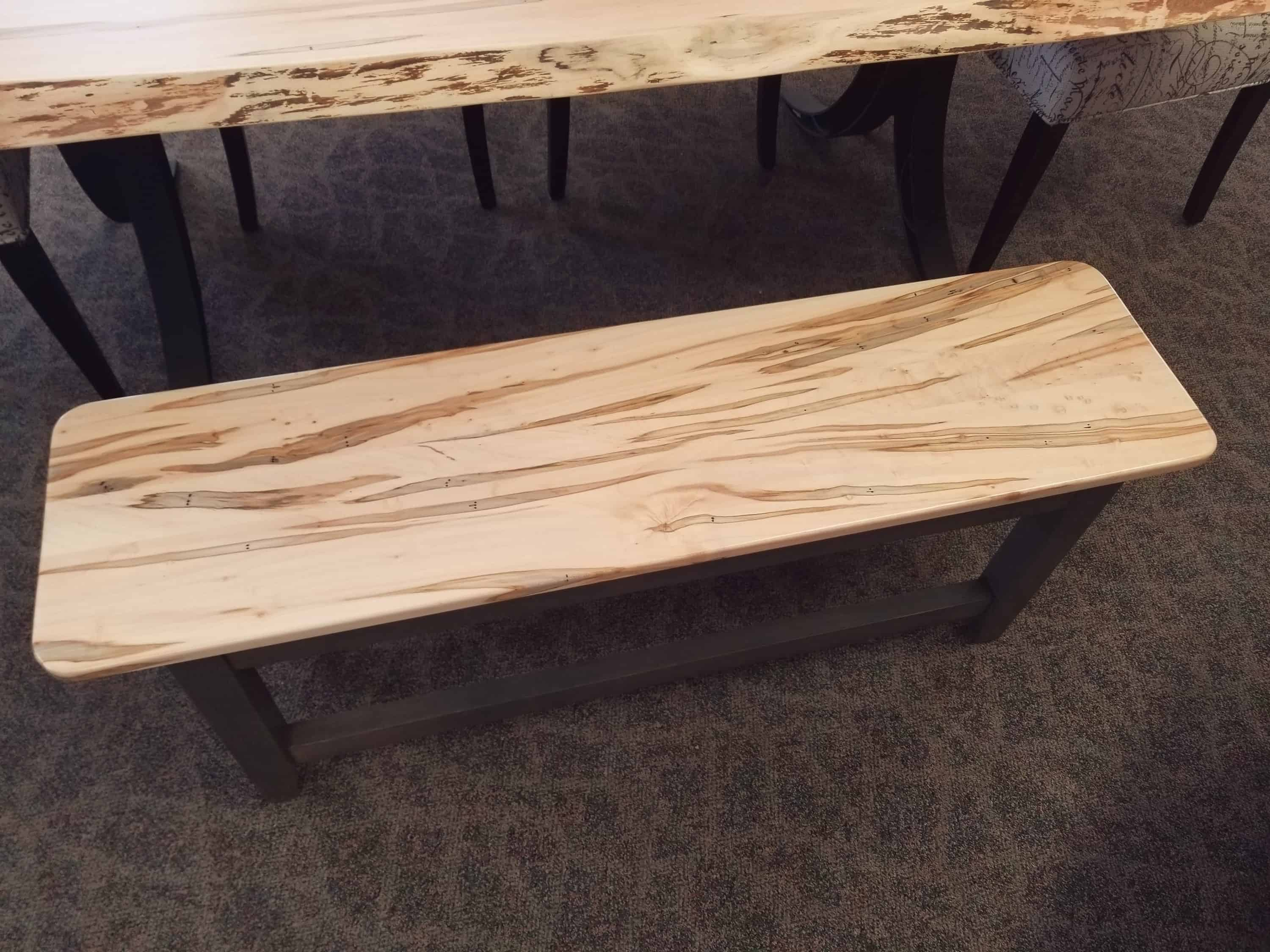 48 Quot Shaker Solid Top Bench Shown In Wormy Maple Amish Oak