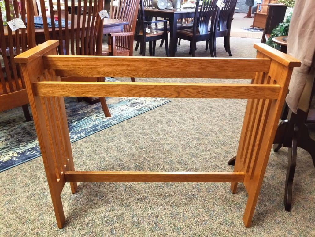 Mission Quilt Rack Shown In Oak With A Seely Finish