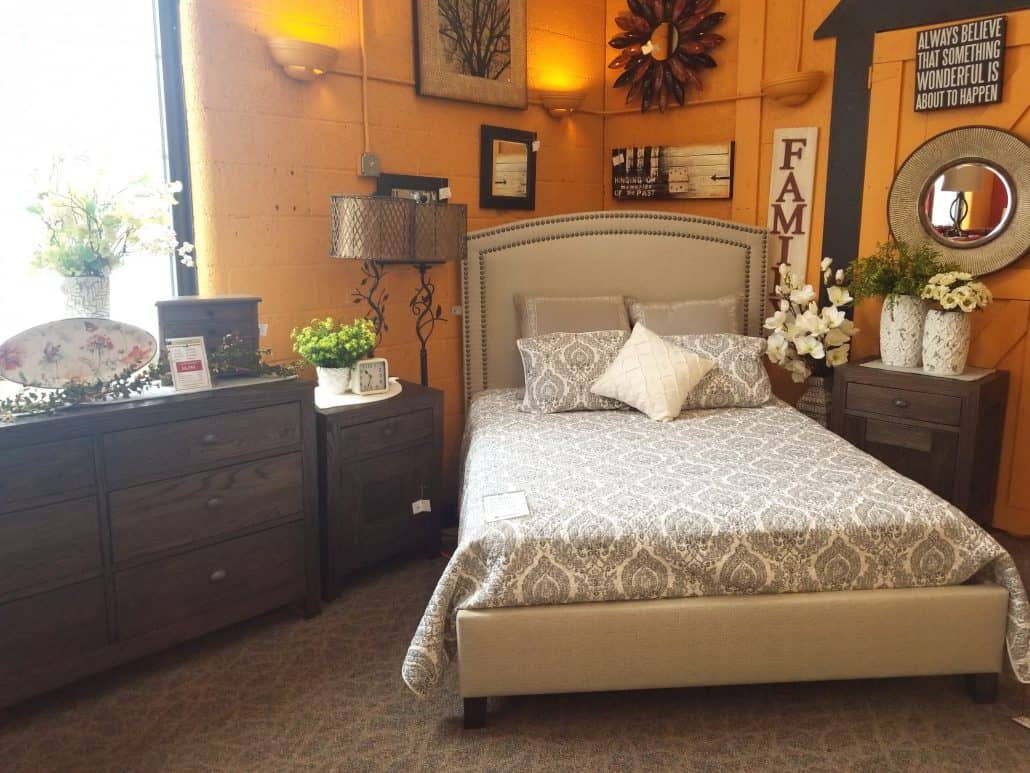 Sonoma Bedroom Set Shown In Oak With A Coconut Fabric